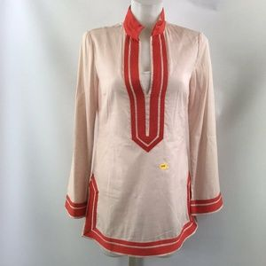 Tory Burch Pink And Coral Long Sleeve Tunic Size 4
